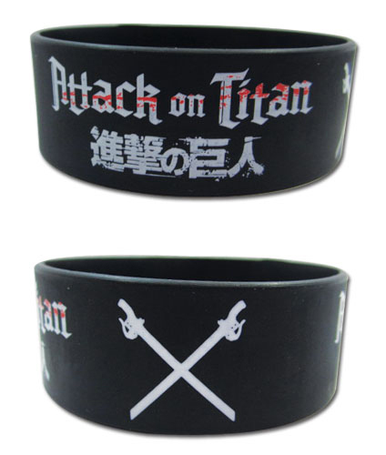 Attack on Titan Wristband: Logo and Crossed Swords PVC