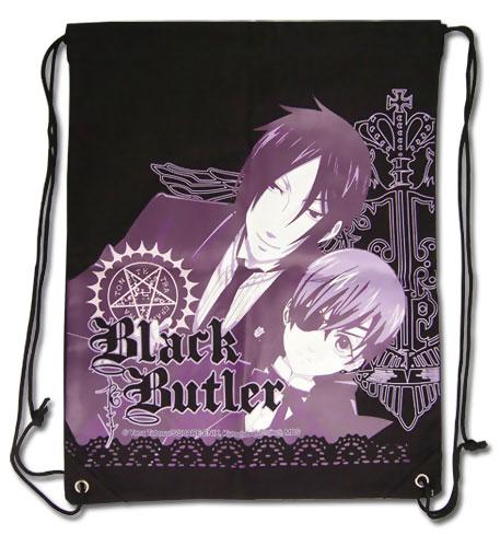 Black Butler Drawstring Bag: Sebastian and Ciel in Purple