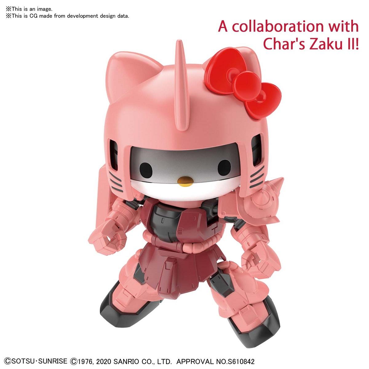 Hello Kitty MS-06S Chars Zaku Gundam Crossover Silhouette Figure