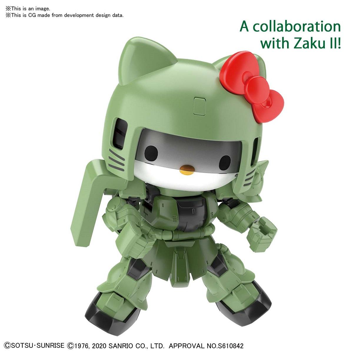 Hello Kitty MS-06C Zaku Gundam Crossover Silhouette Figure